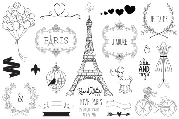 I Love Paris, Vector Graphic Illustrations By rachelwhiteart - Image 2