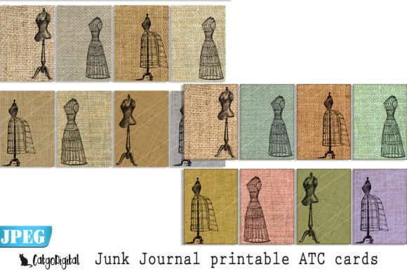 Download Free Junk Journal Printable Atc Cards Burlap Graphic By Catgodigital for Cricut Explore, Silhouette and other cutting machines.