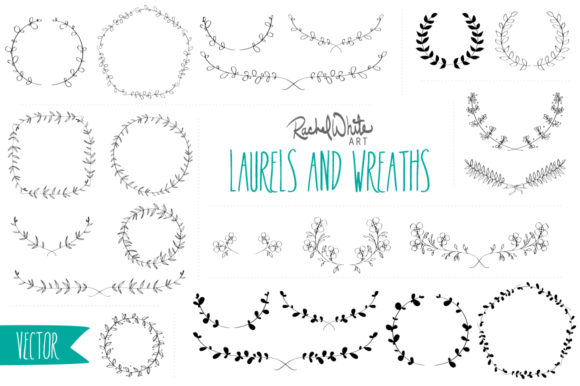Laurels & Wreaths - Vectors & PNGs Graphic Illustrations By rachelwhiteart