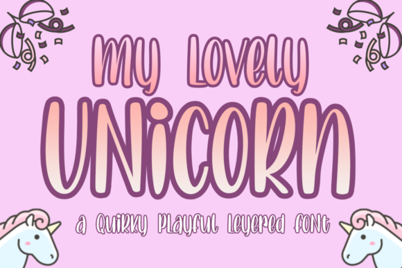 Print on Demand: Lovely Unicorn Display Font By Haksen - Image 1