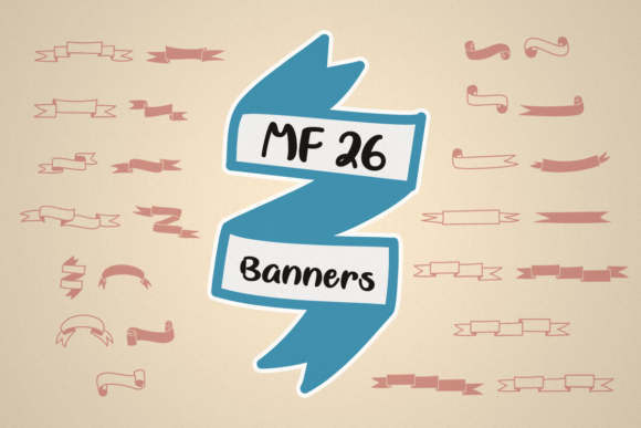 Print on Demand: MF 26 Banners Dingbats Font By Misti