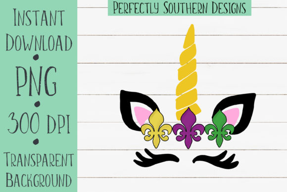 Download Free Mardi Gras Unicorn Graphic By Perfectlysoutherndesigns for Cricut Explore, Silhouette and other cutting machines.
