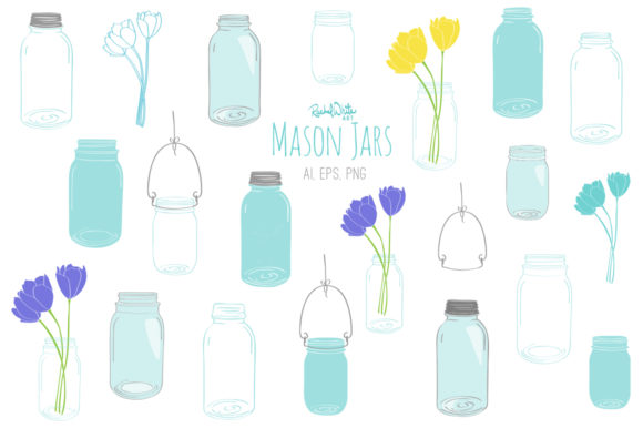 Mason Jars Vector  Graphic Illustrations By rachelwhiteart