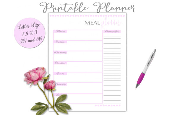 Print on Demand: Meal Planner Worksheet Printable Graphic Print Templates By Shannon Casper