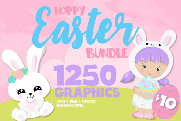 Print on Demand: Mega Easter Bundle - 1250 in 1 Gráfico Ilustraciones Por Prettygrafik