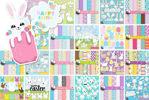 Print on Demand: Mega Easter Bundle - 1250 in 1 Graphic Illustrations By Prettygrafik - Image 4