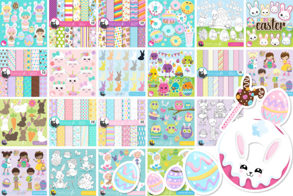 Print on Demand: Mega Easter Bundle - 1250 in 1 Graphic Illustrations By Prettygrafik - Image 5