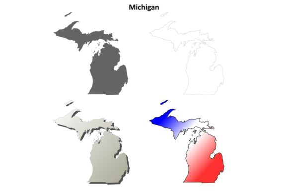 Download Free Michigan Outline Map Set Graphic By Davidzydd Creative Fabrica SVG Cut Files
