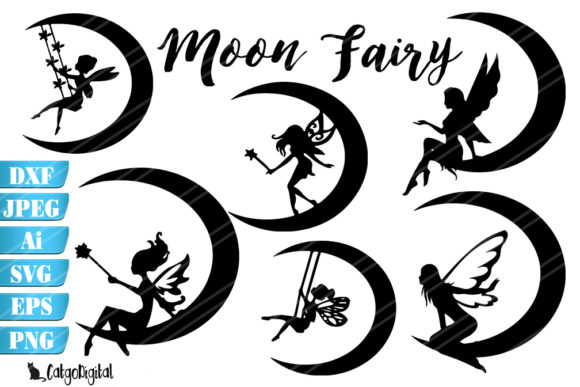 Download Free Moon Fairy Silhouettes Graphic By Catgodigital Creative Fabrica for Cricut Explore, Silhouette and other cutting machines.