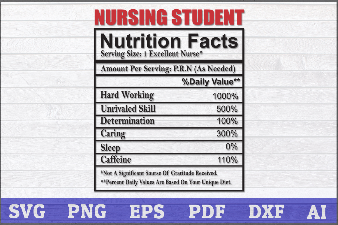 Download Free Nursing Student Nutrition Fact Graphic By Aartstudioexpo for Cricut Explore, Silhouette and other cutting machines.