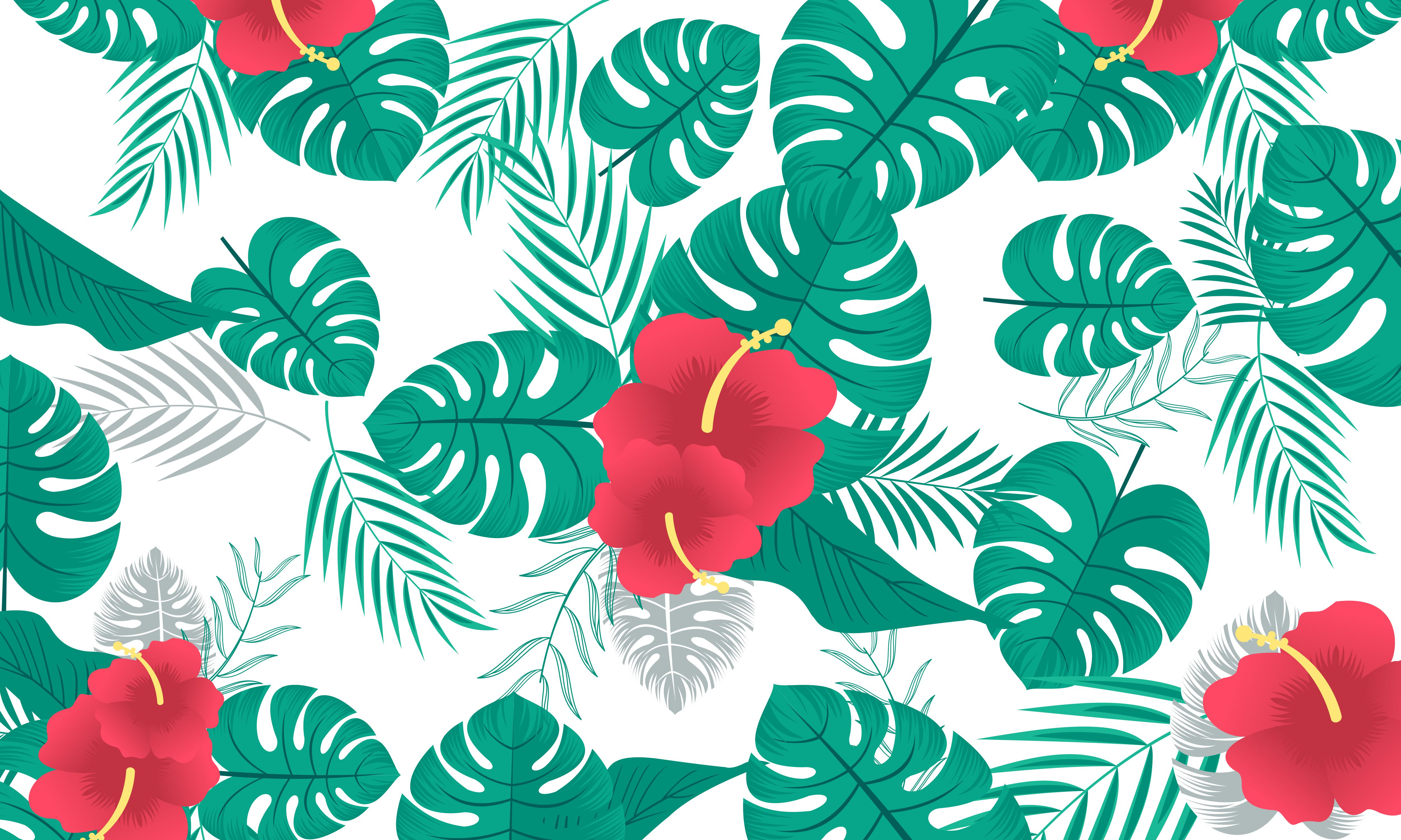 Download Free Pattern With Tropical Flowers And Leaves Graphic By Deemka for Cricut Explore, Silhouette and other cutting machines.
