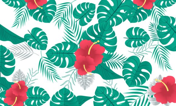 Download Free Pattern With Tropical Flowers And Leaves Graphic By Deemka Studio Creative Fabrica for Cricut Explore, Silhouette and other cutting machines.