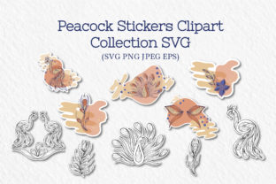 Peacock Stickers Collection Graphic Crafts By Tatyana_Zenartist
