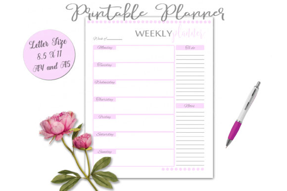 Print on Demand: Printable Planner Set in Pink Graphic Print Templates By Shannon Casper - Image 12