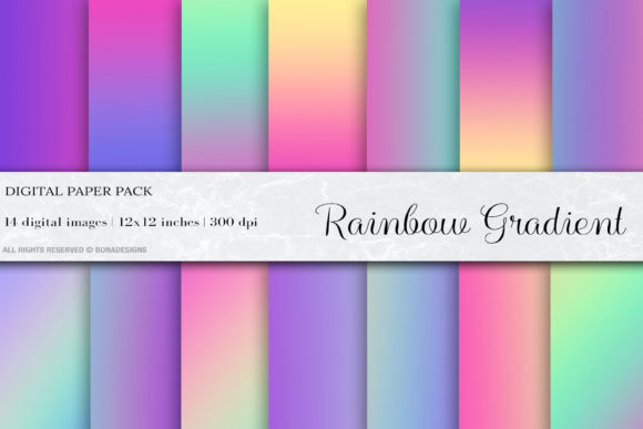 Rainbow Gradient Digital Papers Graphic Backgrounds By BonaDesigns