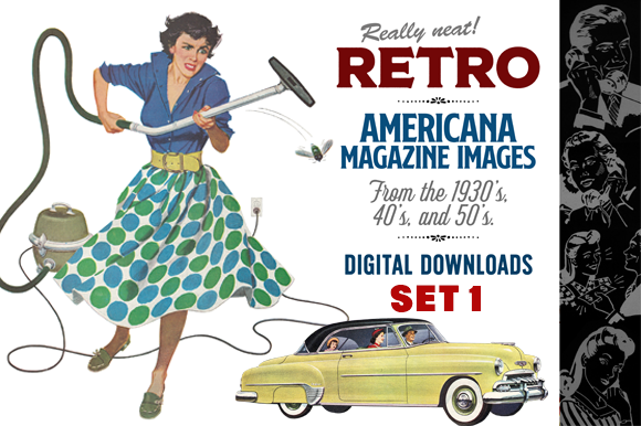 Download Free Retro Magazine Art Grafik Von Sensible Eye Creative Fabrica for Cricut Explore, Silhouette and other cutting machines.