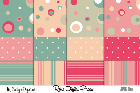 Print on Demand: Retro Papers Digital Scrapbooking Pack Graphic Crafts By CatgoDigital