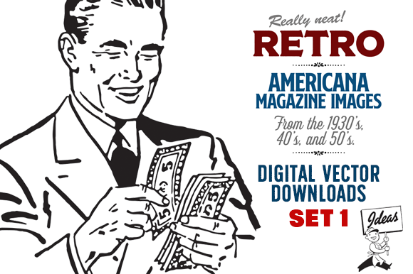 Retro Vector Images Set 1—Ad Cuts Graphic Illustrations By Sensible Eye