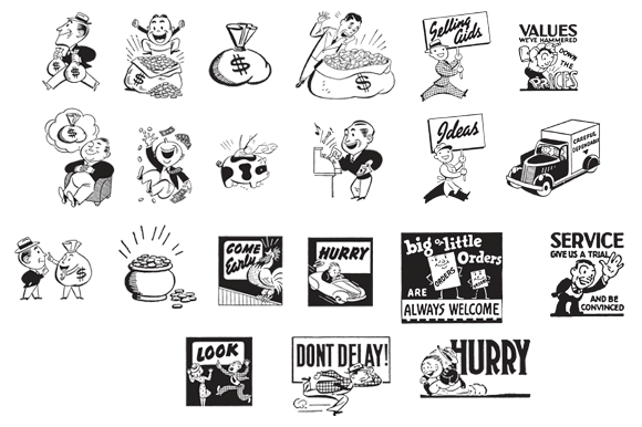 Download Free Retro Vector Images Set 1 Ad Cuts Graphic By Sensible Eye for Cricut Explore, Silhouette and other cutting machines.