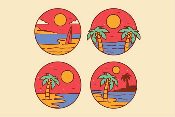 Download Free Simple Beach Logo Design Illustration Graphic By Akhmadmutohar83 for Cricut Explore, Silhouette and other cutting machines.