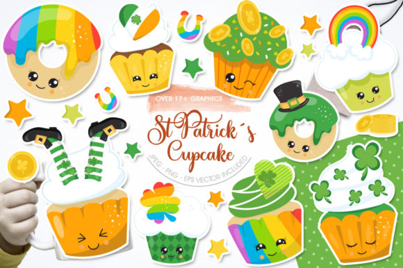 Print on Demand: St Patrick's Cupcake Graphic Illustrations By Prettygrafik