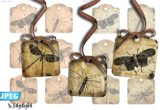 Print on Demand: Steampunk Bug Tags Scrapbooking Tags Graphic Crafts By CatgoDigital