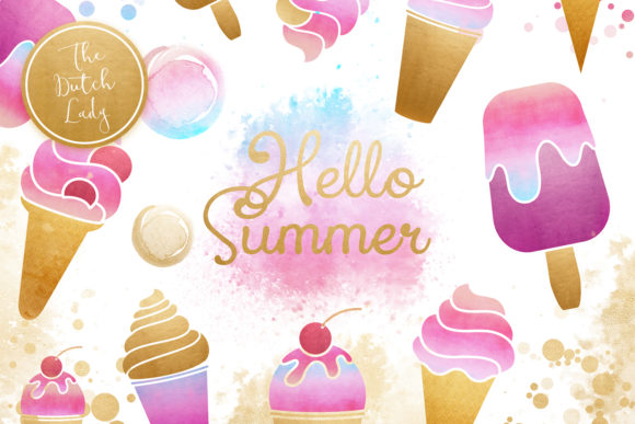 Print on Demand: Summer Icecream & Popsicle Clipart Set Graphic Illustrations By daphnepopuliers