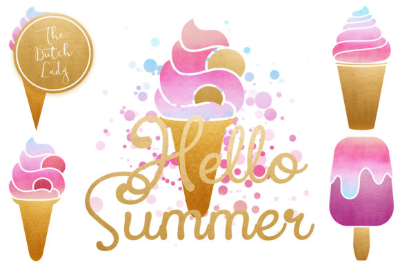 Download Free Summer Icecream Popsicle Clipart Set Graphic By for Cricut Explore, Silhouette and other cutting machines.