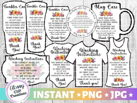 Download Free Tumbler Care Cards Rainbow Stripes Graphic By Suzannecornejo for Cricut Explore, Silhouette and other cutting machines.