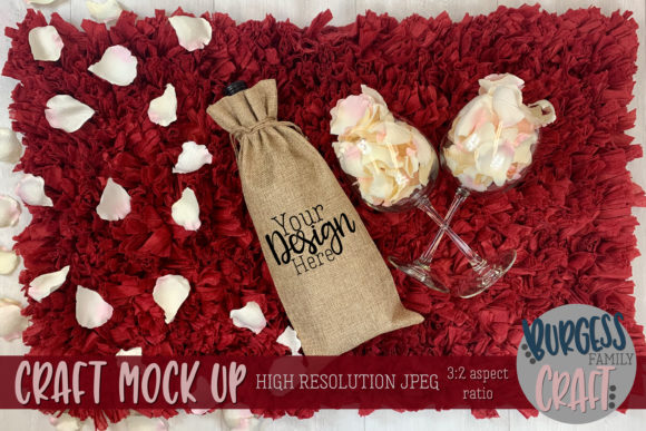 Valentine Wine Bag Craft Mock Up Graphic Product Mockups By burgessfamilycraft