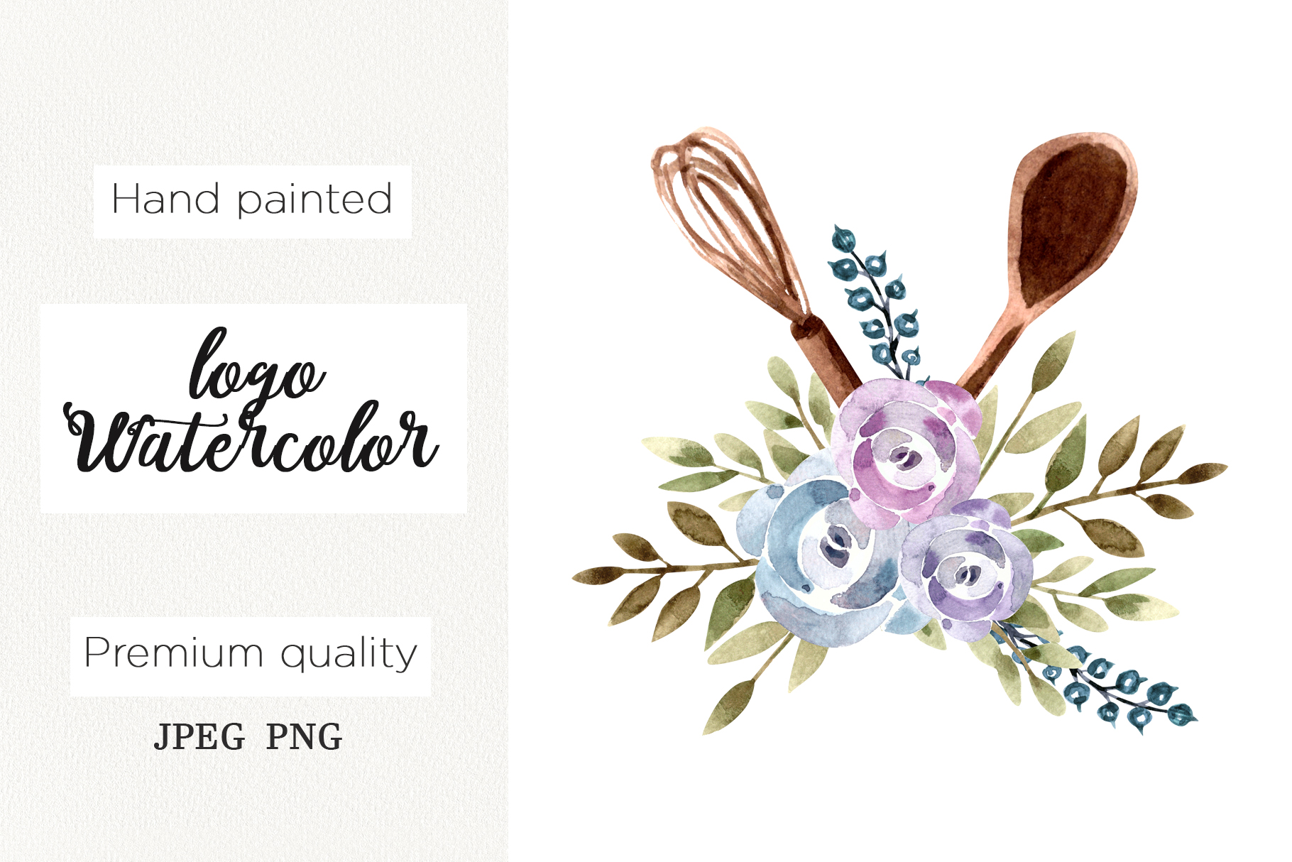 Download Free Watercolor Logo Floral Whisk For Bakery Graphic By Marisid11 for Cricut Explore, Silhouette and other cutting machines.