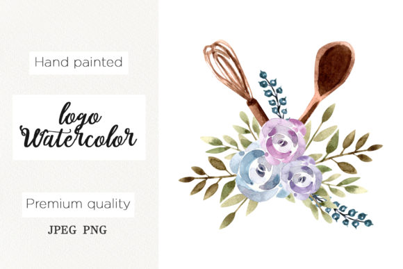 Download Free Watercolor Logo Floral Whisk For Bakery Grafico Por Marisid11 for Cricut Explore, Silhouette and other cutting machines.