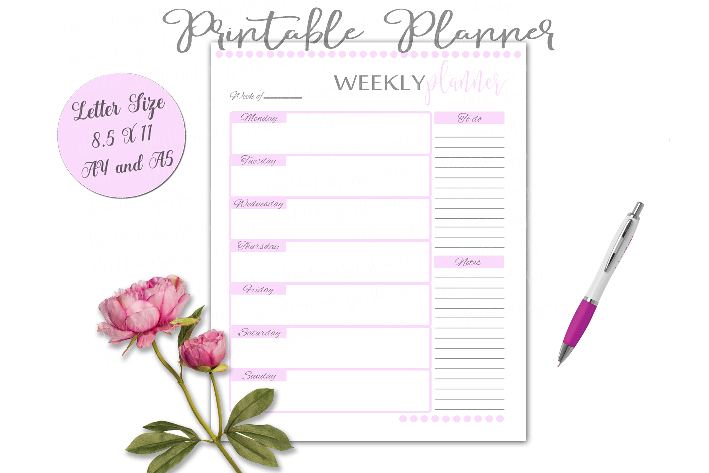 Download Free Weekly Planner Printable Page Graphic By Shannon Casper for Cricut Explore, Silhouette and other cutting machines.