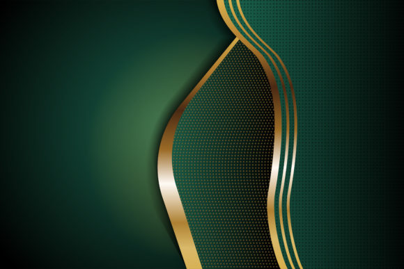 Print on Demand: Green Gold Geometric Background Graphic Backgrounds By noory.shopper