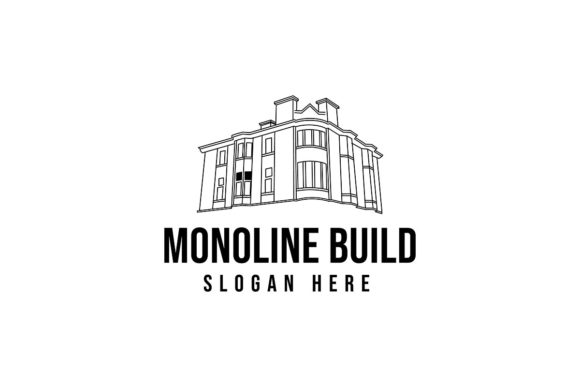 Download Free Mono Line Old Building Logo Ideas Inspi Graphic By for Cricut Explore, Silhouette and other cutting machines.