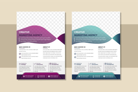 Print on Demand: Purple Blue Gradient Vertical Flyer Graphic Graphic Templates By noory.shopper
