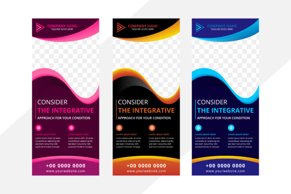 Print on Demand: Vertical Banner Wave Flat Color Backgrou Graphic Graphic Templates By noory.shopper