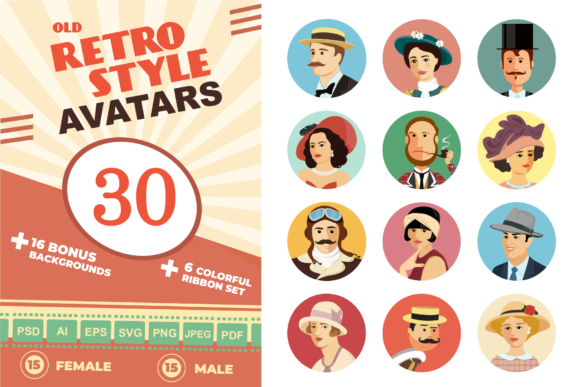 Avatars Retro People Vector Cartoon Graphic Icons By Niko Dzhi
