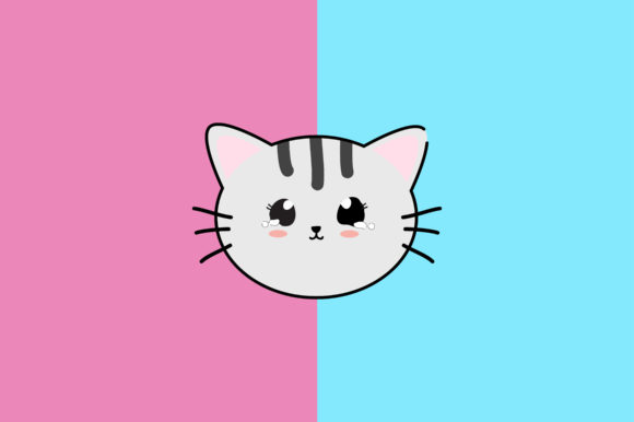 Download Free Cat Kawaii Cute Illustration Character Graphic By Purplebubble for Cricut Explore, Silhouette and other cutting machines.