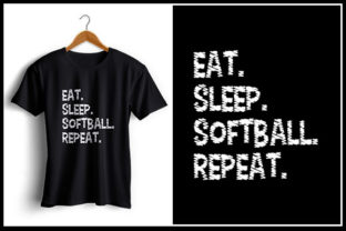 Download Free Eat Sleep Softball Repeat Graphic By Zaibbb Creative Fabrica for Cricut Explore, Silhouette and other cutting machines.