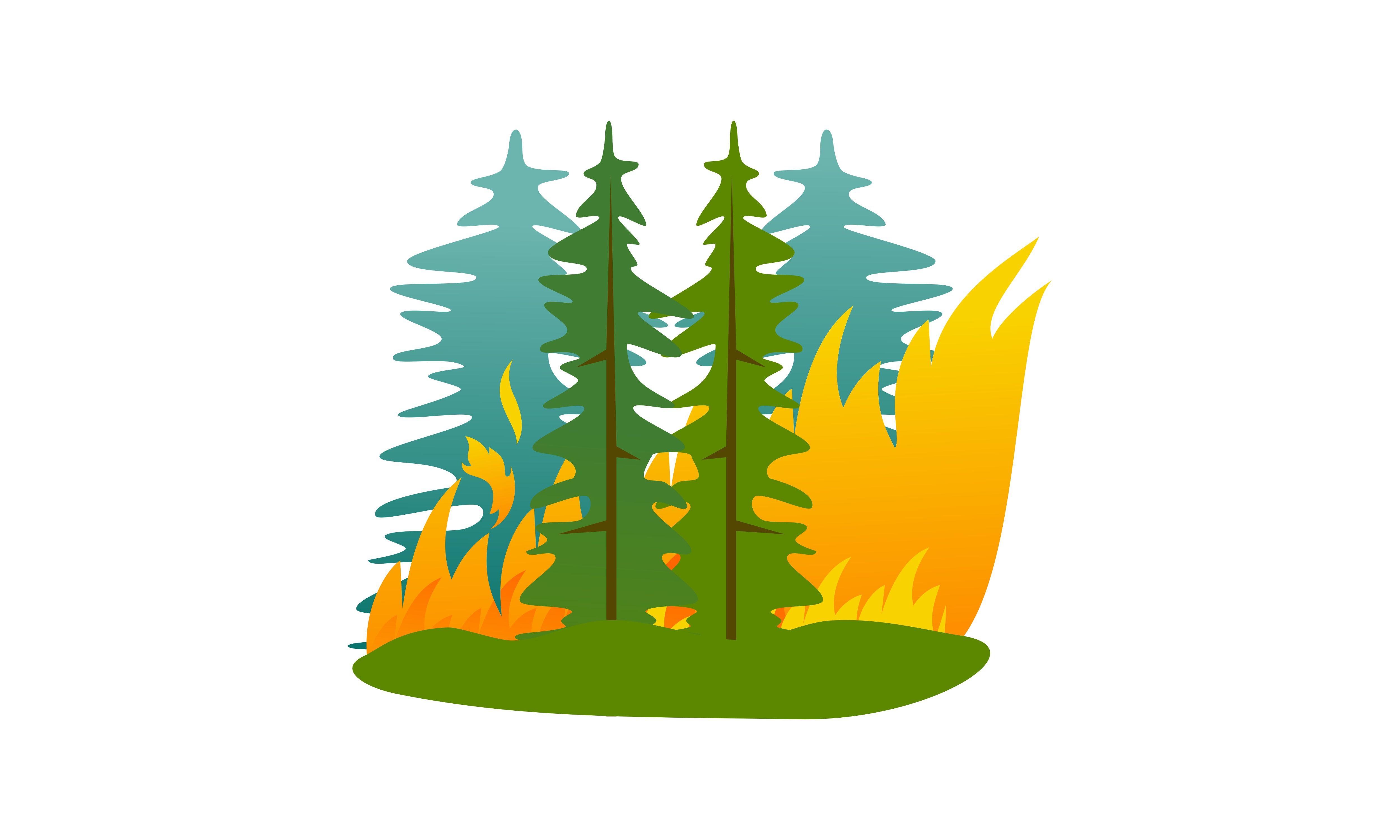 Download Free Forest Fire Natural Disaster Concept Graphic By Deemka Studio for Cricut Explore, Silhouette and other cutting machines.