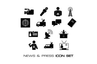 Download Free News Press Media Icon Set Bundle Graphic By Hoeda80 for Cricut Explore, Silhouette and other cutting machines.