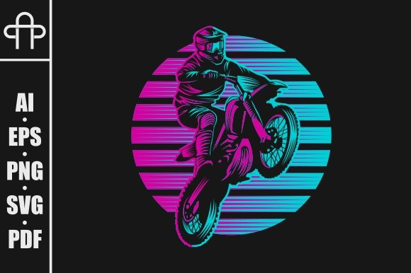 Print on Demand: Jump Motocoross Retro Graphic Illustrations By Andypp