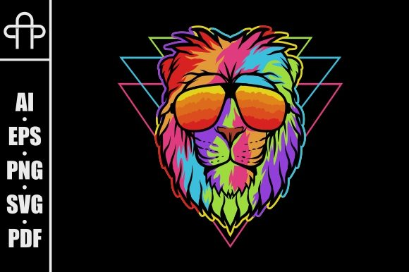 Print on Demand: Lion Head Colorful Graphic Illustrations By Andypp