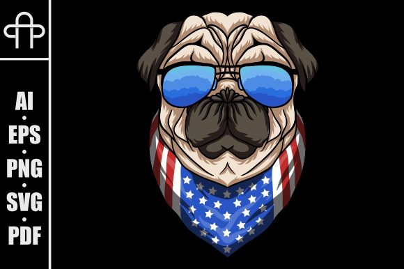 Print on Demand: Pug Dog USA Flag Bandana Graphic Illustrations By Andypp