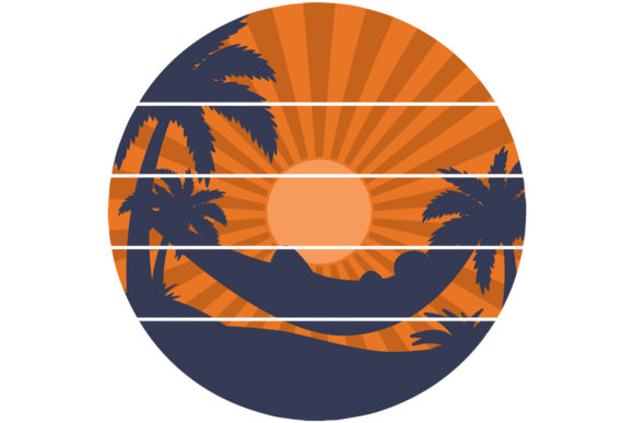 Print on Demand: Beach Hammock Retro Vintage Sunset Graphic Logos By SunandMoon