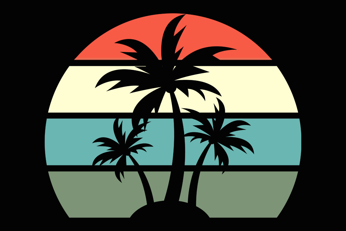 Download Free Beach Palm Tree Retro Sunset Clipart Graphic By Sunandmoon for Cricut Explore, Silhouette and other cutting machines.