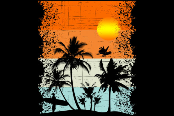 Print on Demand: Beach Surfer Palm Trees Vintage Sunset Graphic Logos By SunandMoon - Image 1