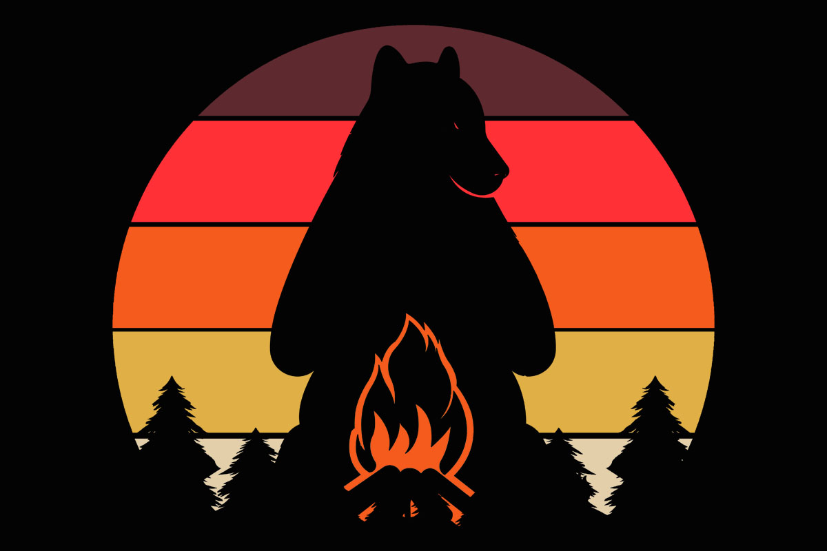 Bear Campfire Camp Retro Sunset Clipart (Graphic) by ...