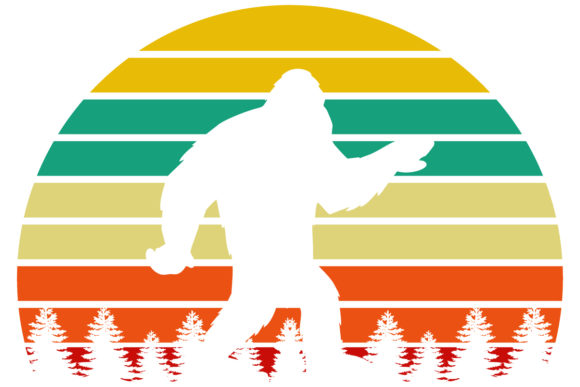 Print on Demand: Bigfoot Retro Vintage Sunset PNG Graphic Logos By SunandMoon - Image 1